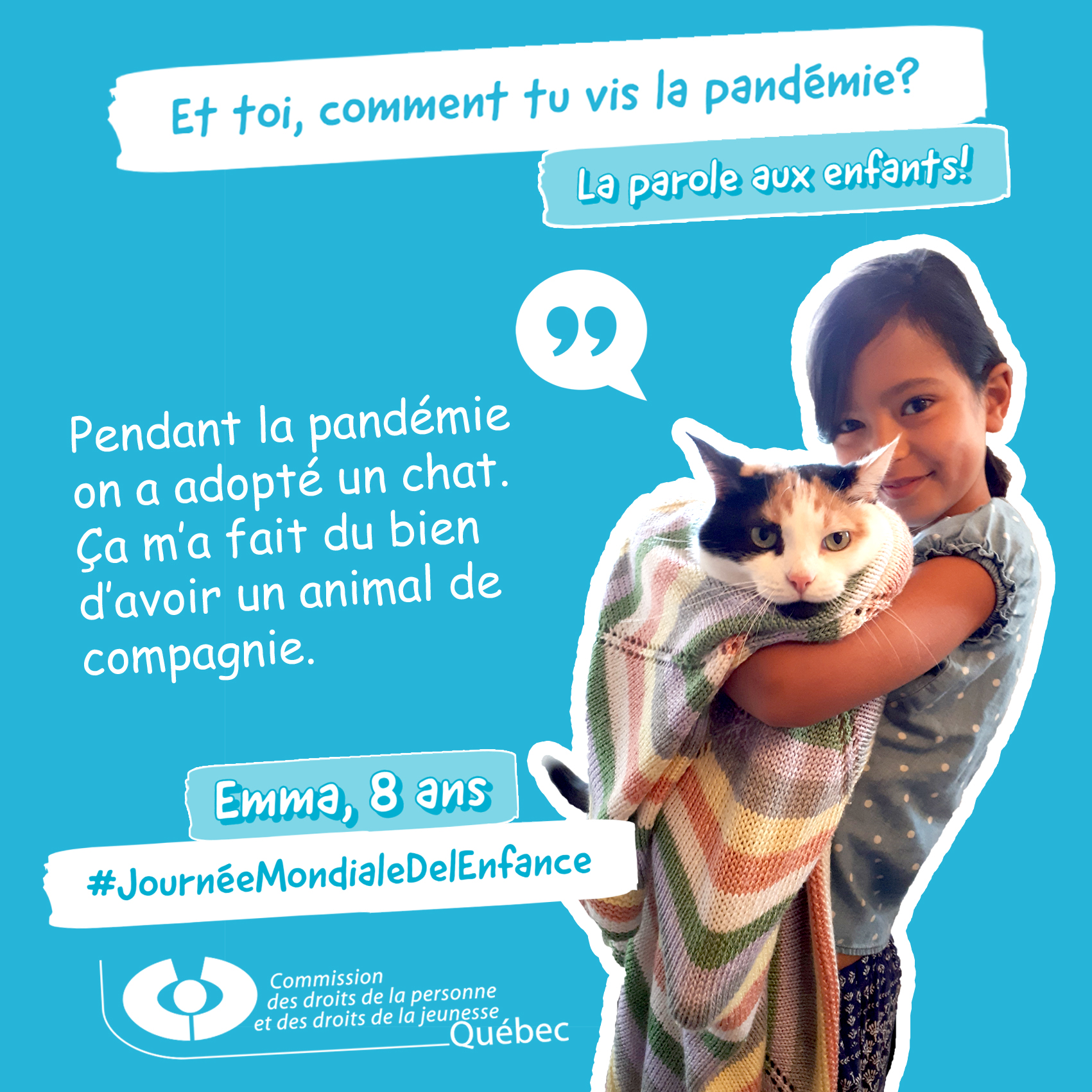 Photo et citation d'Emma qui répond à la question Et toi, comment tu vis la pandémie?