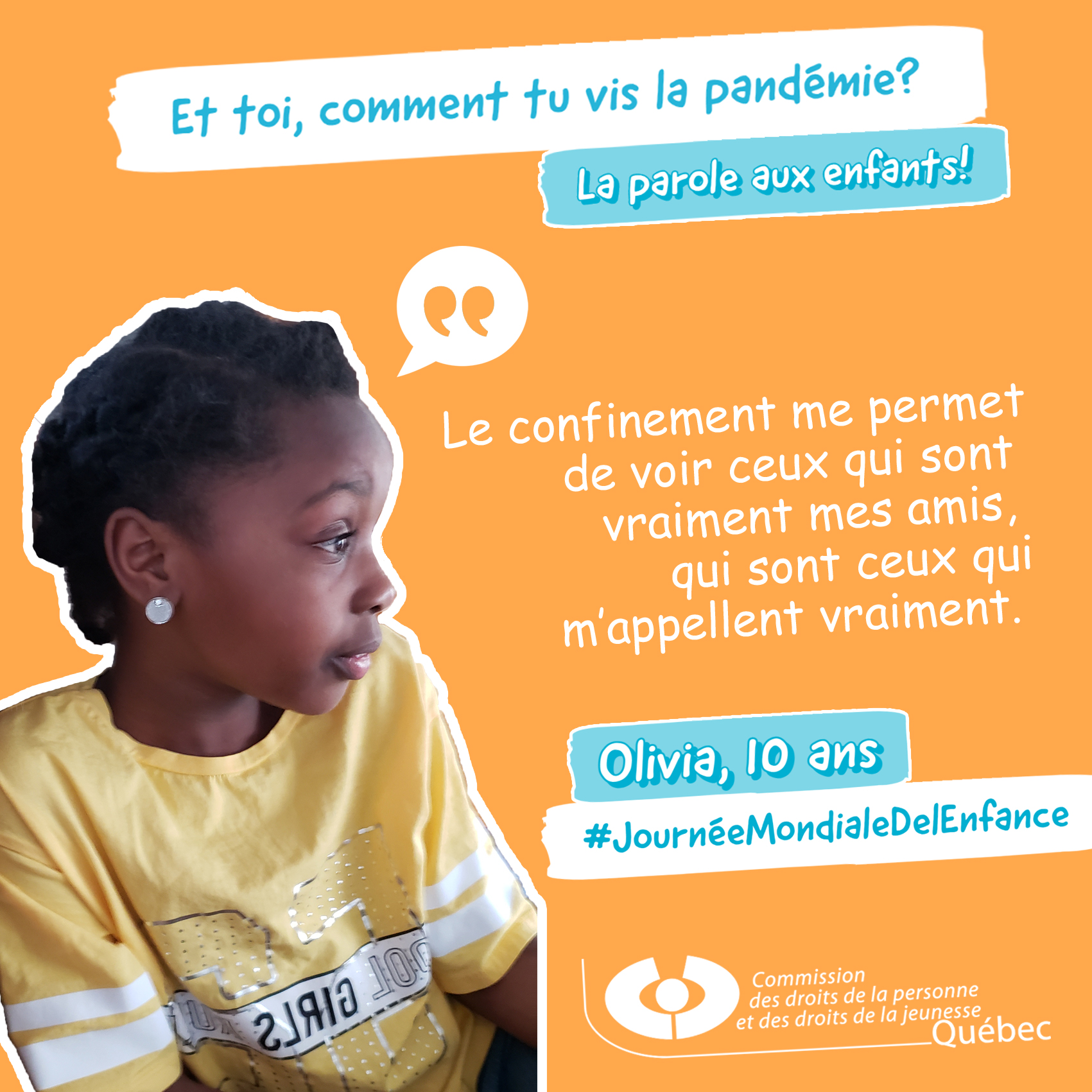 Photo et citation d'Olivia qui répond à la question Et toi, comment tu vis la pandémie?